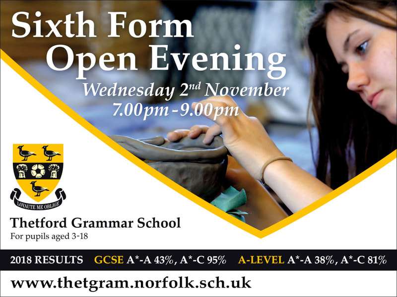Facebook ad for Thetford Grammar School sixth form open evening by Drydesign