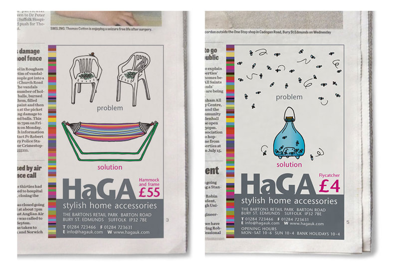 Press ads for HaGa (Home and Garden Accessories) by Drydesign