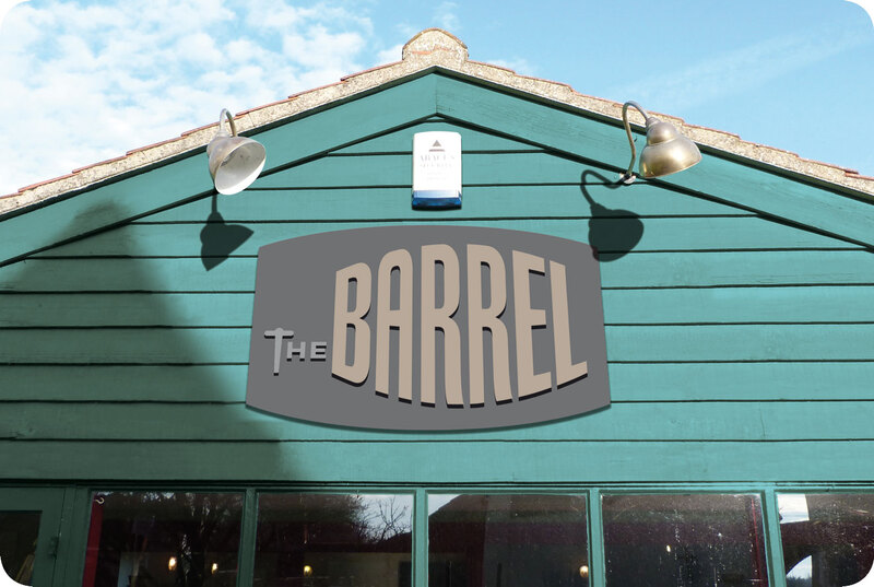 Exterior sign for the Banham Barrel pub and music venue in Norfolk by Drydesign