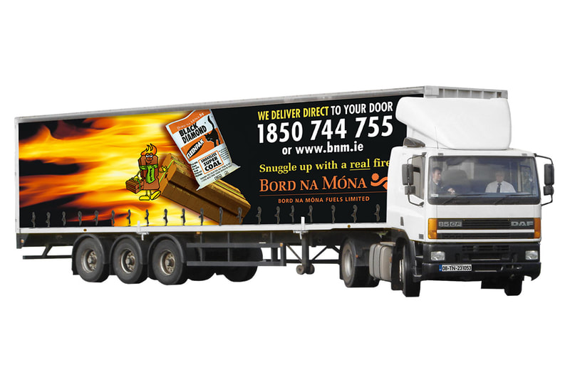 Bord na Móna articulated lorry graphics by Drydesign