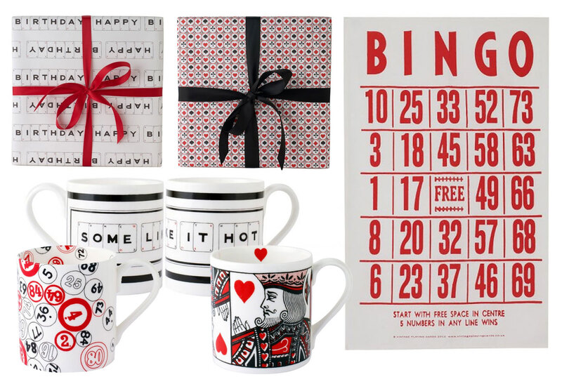 Wrapping paper, mugs and tea towels for Vintage Playing Cards by Drydesign